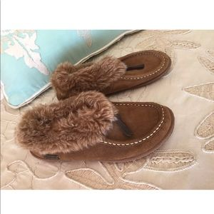 Woolrich 6 leather faux fur slippers shoes brown